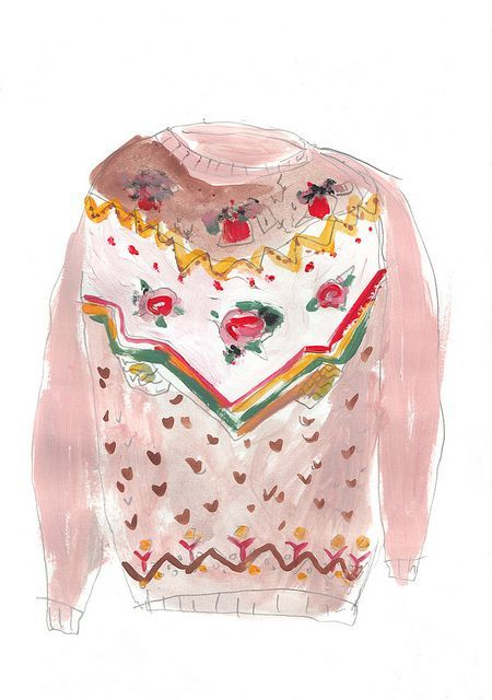 pink sweater watercolor illustration