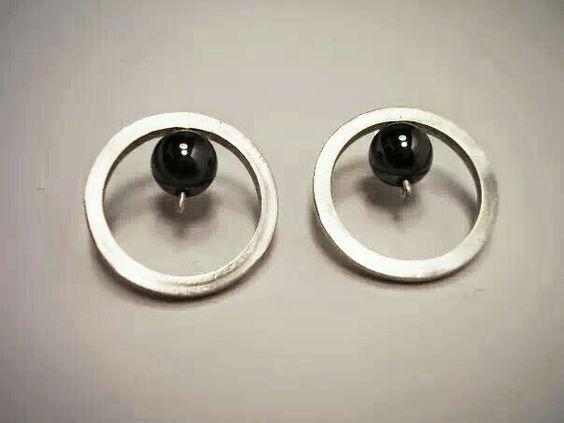 Orecchini argento e onice nero by Sabrina Bottura