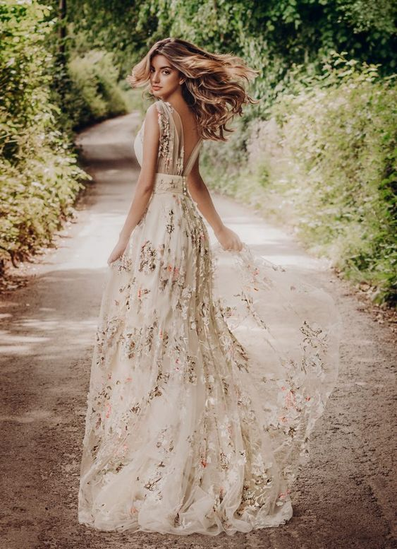 22 Casual Wedding Dresses For Summer Woodland Wedding Dress With Floral Prints And Open Back Outdo Floral Wedding Dress Wedding Dresses A Line Wedding Dress