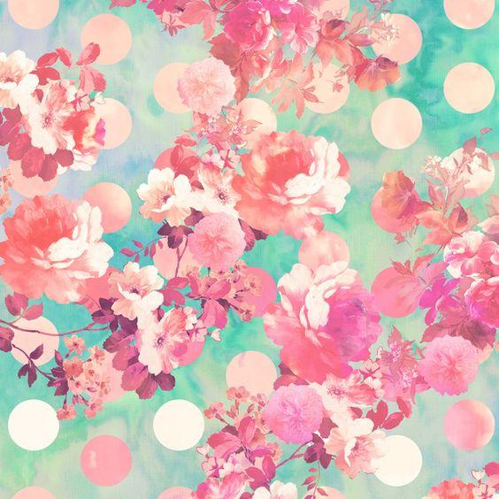 Romantic Pink Retro Floral Pattern Teal Polka Dots Art Print ...