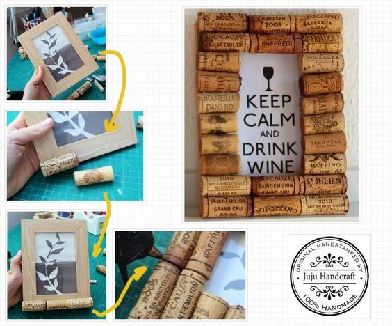"Le week-end arrive! Voici une idée pour recycler les bouchons du vin!  Weekend is Coming SOON!!!! One easy idea to recycle ""wine cork"".  Já no ritmo do final de semana! Uma ideia super fácil para aproveitar a ""rolha"" da garrafa de vinho!"