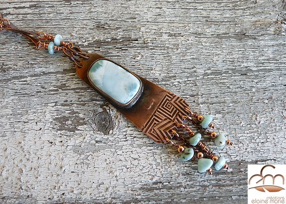 Hand forged, Larimar on copper