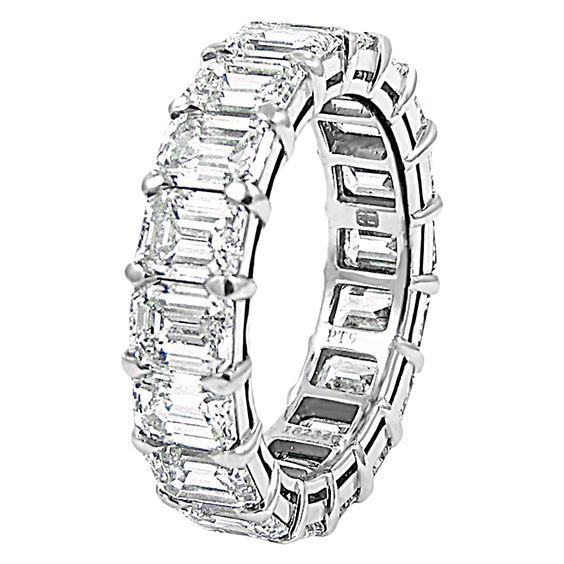Harry Winston Emerald Cut Diamond Platinum Eternity Band Ring