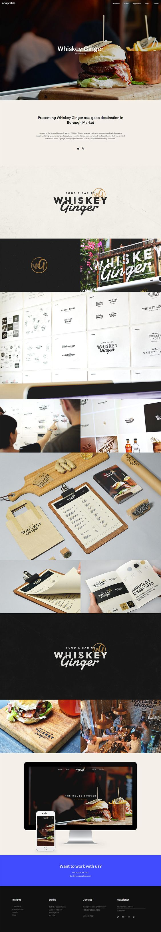 Case study layout for brand identity design of a whiskey bar