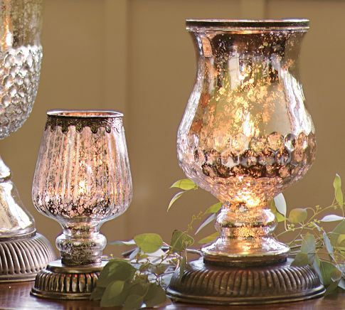 Pottery Barn Mercury Glass Hurricane Lamps Let S Get