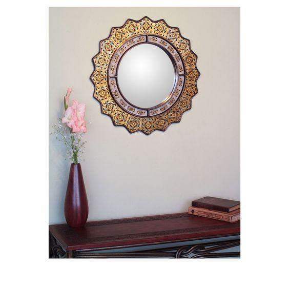 Novica Marigold Sun Artisan Handmade Decor Hand-Painted Floral Gold Blue Yellow Accent Bedroom Bathroom Decor Hall Wall Mirror