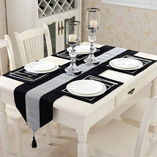 Hangnuo Set Of 4 Wedding Elegant Sequined Rhinestone Contrated Classic Placemat Table Mats And 1pc Runner Black Table Runners Cheap Table Runners Table