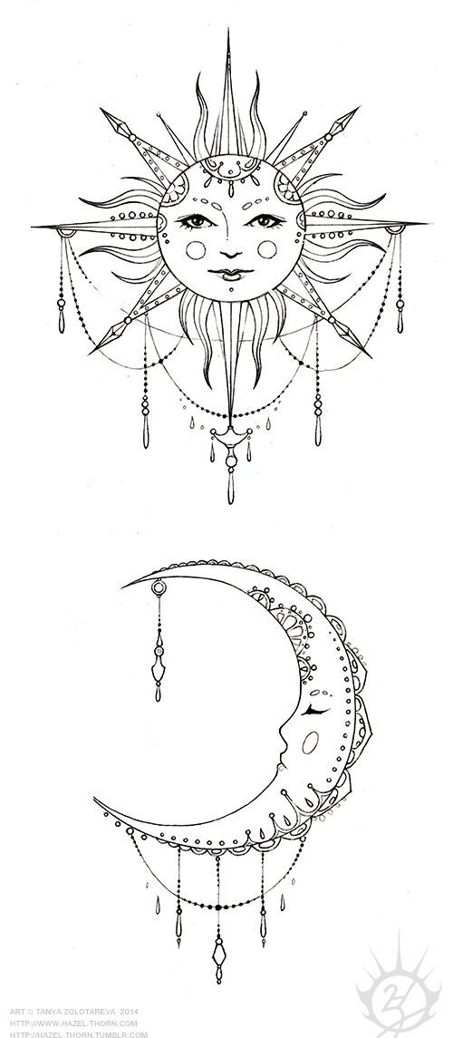 Bohemian Sun and Moon, tattoo design (inked):