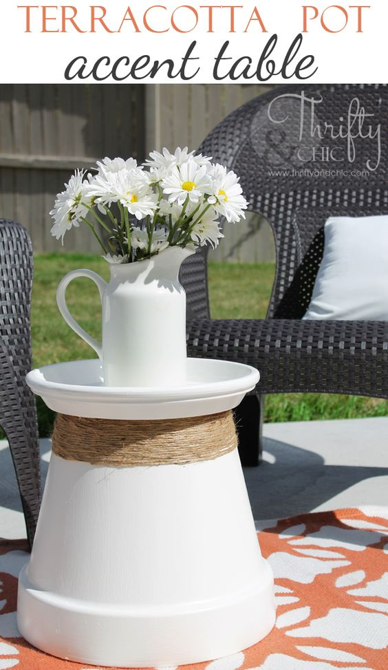 Terracotta Pot Recycled Into Accent Table Thrifty And Chic Diy Projects And Home Decor