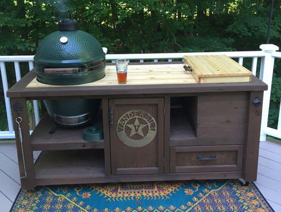 Tableaux double personnalisés Tables Grill - Kamado Joe, Big Green Egg, Primo -, cuisine extérieure, intégré Cooler - refroidisseur en bois - Cart de cèdre de qualité