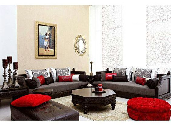 salon marocain - Canape Marocain Rouge