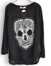 Black Skull Print Dipped Hem Long Sleeve Chiffon Blouses $30.24