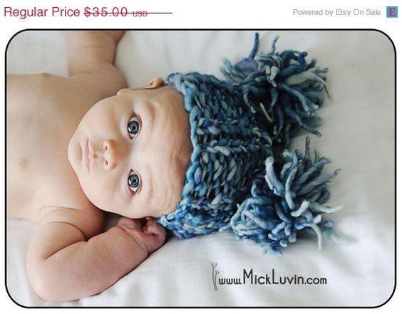 Sale 25 off Baby Hand Spun Merino Wool Pom Pom hat by garysangel, $26.25