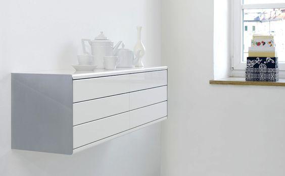 Sideboard wandhängend  Wandmontiertes Sideboard / modern / Holz / lackiertes Holz - LUX ...