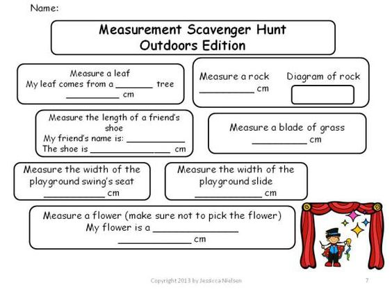 Worksheets Treasure Hunt Math Worksheet measurement outdoor scavenger hunt i love this activity its hands on it get