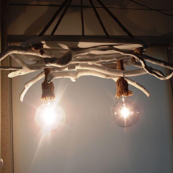 φωτιστικό οροφής απο θαλασσοξυλα βαμμενο σε λευκό χρώμα και σχοινιά Μανίλα..(διαστασεις 90 χ 60 cm)