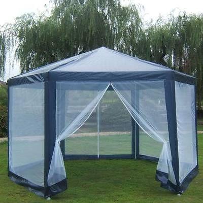Gazebo mosquito net large party screen house outdoor hex - Screen netting for gazebo ...