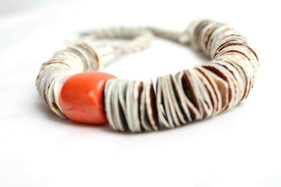 Asymmetric Necklace Statement Shell Coral Heishi by DreamsFactory, $95.00