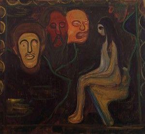 Munch - Maedchen und drei Maennerkoepfe