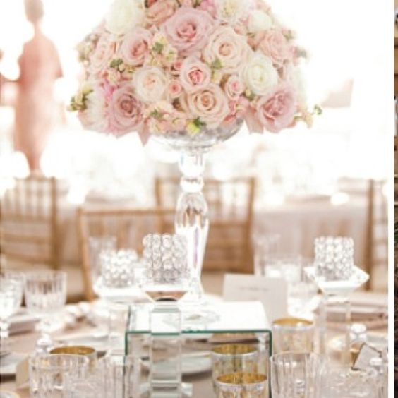 Blush carnation wedding center pink and black