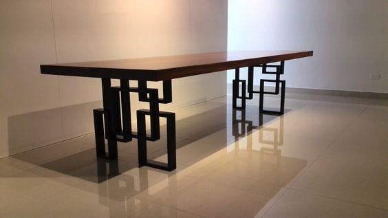 """New York"" Steel and Mahogany Wood Slab Table, custom designed by Gina Mae"