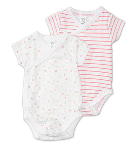 Frontimage view 2er Pack kurzärmelige Baby-Wickelbodies in weiss / rosa