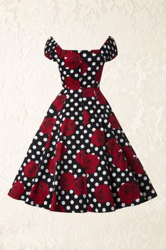 Collectif Clothing Dolores Floral Polka Swing Dress 102 14 14351 20141206 0016Model