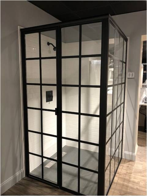 Matte Black Gridworks On A Lucette Framed Shower Enclosure Glass
