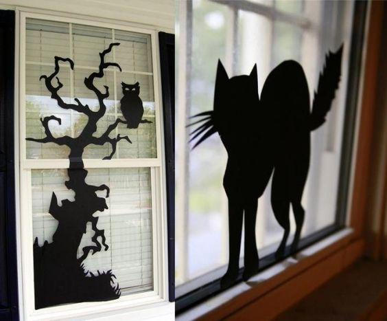 Silhouetten bilder als fensterdeko zum halloween mit for Fensterdeko herbst