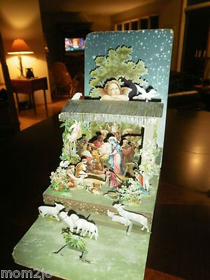 Vintage Antique Christmas Nativity Holiday Pop Up Card Creche Italy Cardboard | eBay
