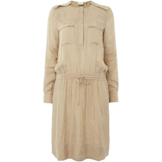 InWear Freja safari shirt dress (130 NZD) ❤ liked on Polyvore featuring dresses, beige, clearance, safari dress, wet look dress, beige shirt dress, shining dress and long sleeve dress