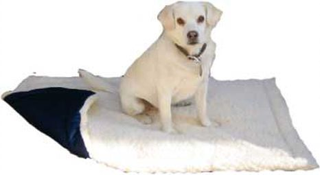 All Seasons Crate Pad with a water proof bottom and a soft heavy sherpa topping. Come ion sizes for all dogs & cats.