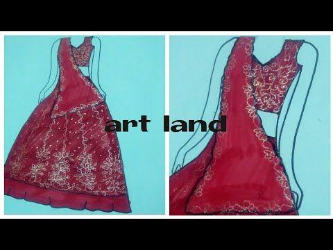 تعليم رسم اللباس الهندي رسم ساري رسم اللباس الهندي للعروسة How To Draw Indian Wedding Dress Youtube In 2020 Art Dress Fashion Indian Wedding Dress