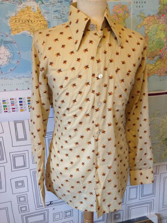 VINTAGE 70 S BEIGE LEAF PRINT FITTED DAGGER COLLAR RETRO SHIRT S/M
