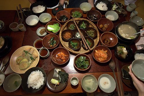 Dinner, Sanchon: Korean Buddhist vegetarian cuisine. 16 dishes in total.