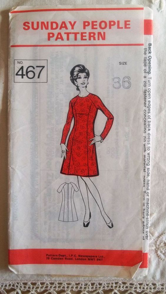1960's Vintage Sewing Pattern - Sunday People no 467 Dress - Short or Long
