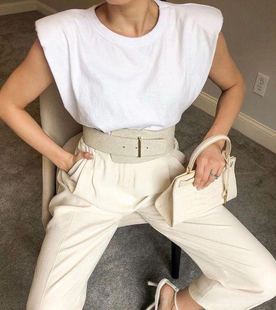Frankie Shop Eva Padded Shoulder Muscle T-Shirt in White