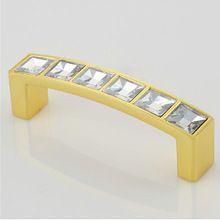 64mm vierkante crystal kabinet keuken knoppen diamond lade gouden grepen knoppen garderobe kast pulls win kast trekt(China (Mainland))