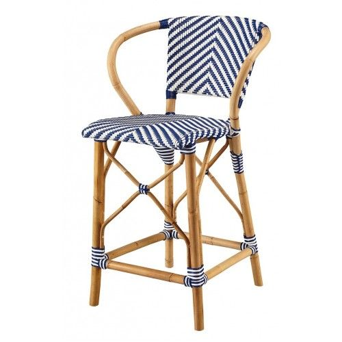 Blue White Rattan Bistro Counter Stool In 2020 Counter Stools Rattan Blue Furniture