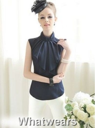 Elegance OL Womens Bowknot Neck Sleeveless Shirt Top 3Colors S M L F2177 SOZ
