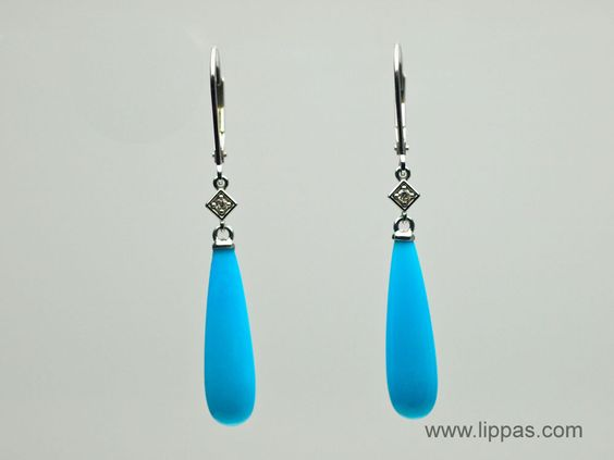 Lippa's Estate and Fine Jewelry - 14 Karat White Gold Turquoise and Diamond Long Drop Earrings