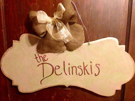 Personalized Wooden Banner Door Hanger by delinskidesigns. Explore more products on http://delinskidesigns.etsy.com