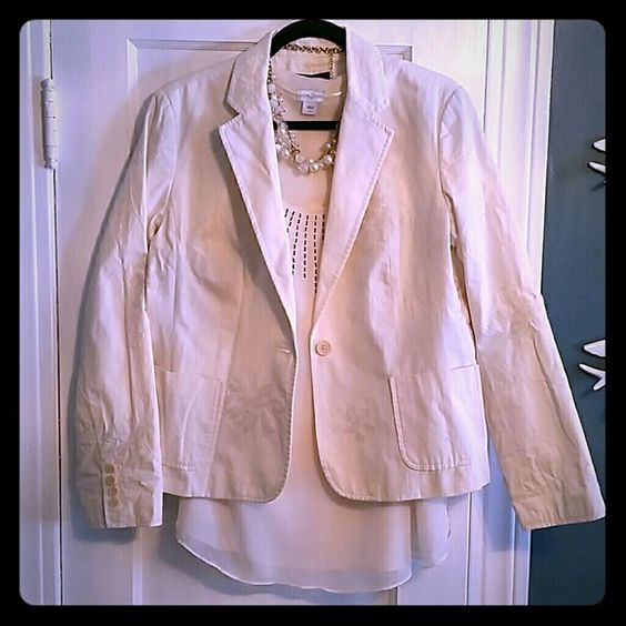 Talbots embroidered jacket Lovely cream embroidery. Light stain on the inside near tag but still worthy of your closet! Talbots Jackets & Coats Blazers