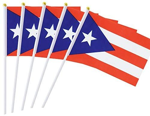 25 Pack Hand Held Small Mini Flag Puerto Rico Flag Puerto Rican Stick Flag Round Top National Country Flags Party Decoration Supplies Mini Flags Country Flags