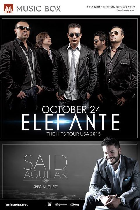 "ELEFANTE en concierto!! Sábado 24 de Oct en  ""The Music Box"" 8pm - $25 (presale) - 21 & up"