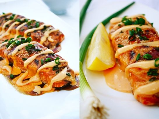 Salmon with Sriracha Cream Sauce: Seasoned with soy, ginger, garlic and honey.
