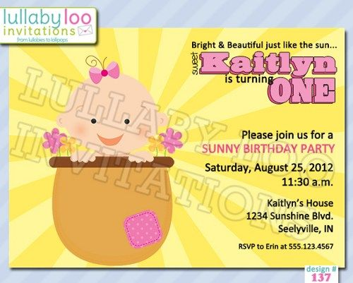 SUNNY Birthday Invitations (137) | lullabyloo - Cards on ArtFire #ckdin
