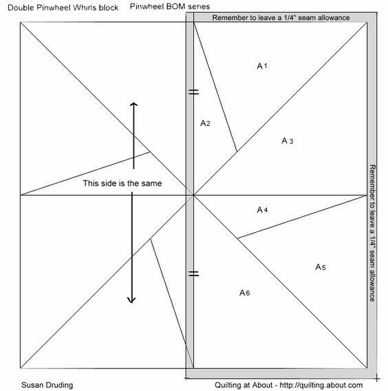 Free Printable Pinwheel Quilt Pattern : quilt block patterns printable Free quilt blocks - Block of the Month BOM #6 - double pinwheel ...