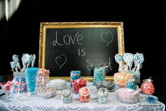 DIY candy buffet / bar wedding in navy White and rose - www.itsfashionbaby.dk