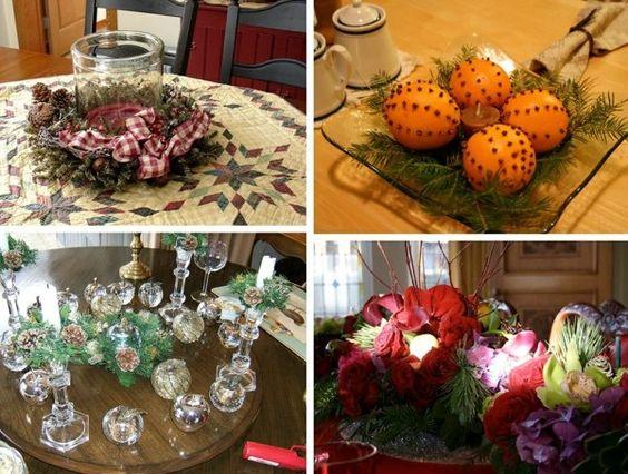 Bastelideen für Weihnachtstischdeko orangen tannenzweige